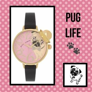 Betsey Johnson Pink Pug in a Hat Black Strap Watch